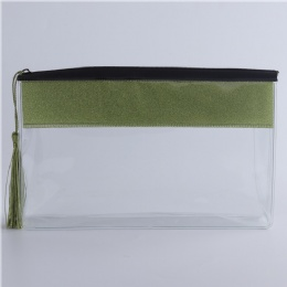 Custom new style Green zipper tassel pvc cosmetic bag for sales